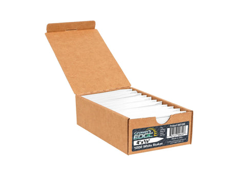 "Grower's Edge Plant Labels / Stakes 4"" 1000/pack White (Colors Also Available Separately)"