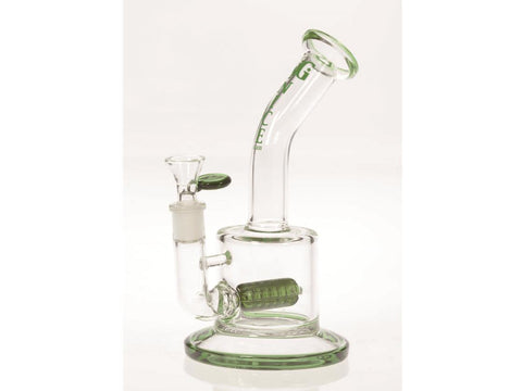 "Nice Glass WaterPipe - Stemless  8"" Banger-Hanger Bubbler 8"" Inline Perc 14mm Bowl Choice of Colors S324"