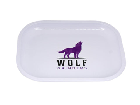 Wolf Grinders Tin Rolling Tray White 17x14cm
