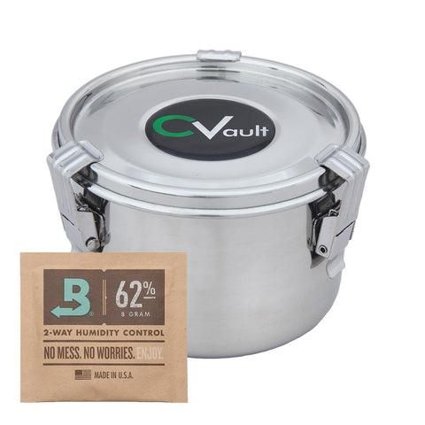 CVault Stainless Steel Air-Tight Metal Storage and Curing Container - 10cm (Medium) 0.5Litre