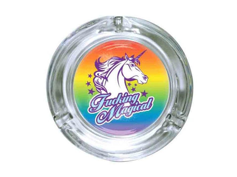 "Stonerware Glass Ashtray 4.25"" Unicorn Fucking Magical"