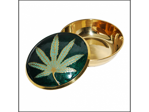 NoName Brass Ashtray With Leaf Lid