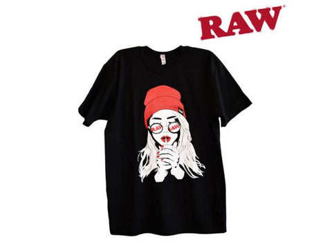 "RAW TShirt Mens Black ""Smoking Girl"" Choice of Sizes"
