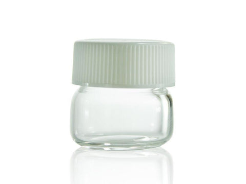 NoName Glass Jar WideMouth w/ White Plastic Screw-Top Lid 5ml 100/pack