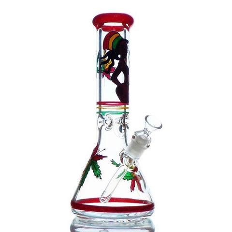 "Gangster Glass WaterPipe - Beaker 13"" Rasta Customized w/ Diffused Downstem 14mm Bowl GG157"