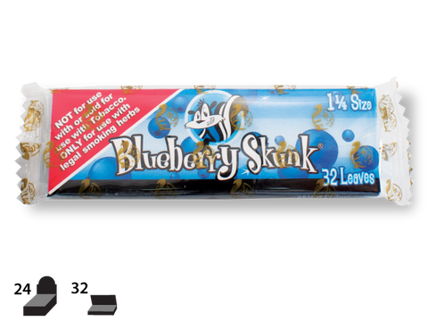 Skunk Brand Rolling Papers - 1-1/4 Size - Blueberry Skunk 32/pack 24/box
