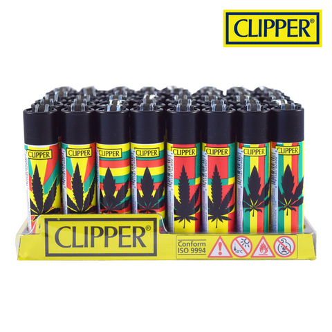 Clipper Lighter Regular Size Reggae Print w/ Removable / Replaceable Flint / Poker 48/pack