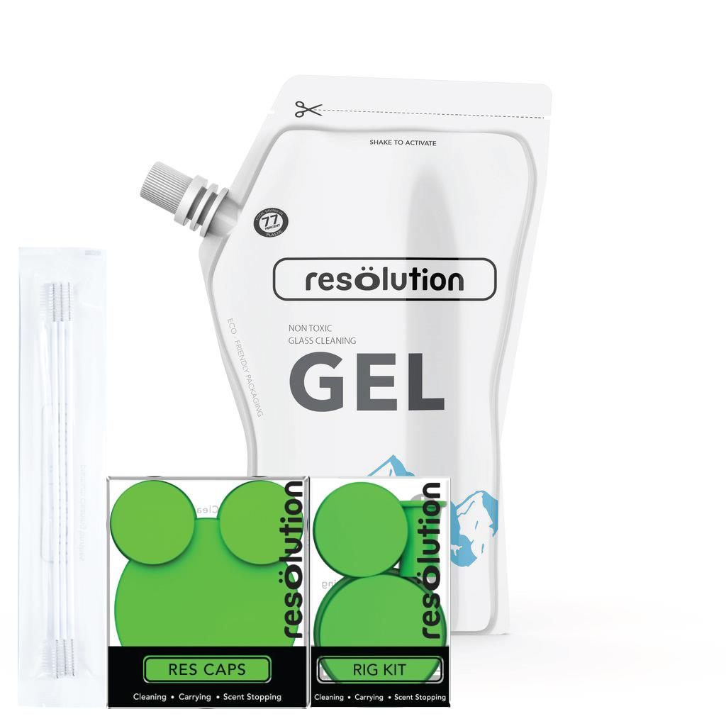 Resolution Cleaning Solution Kit - 240ml Gel & Rig Caps & Bong Caps & 4  Brushes Total