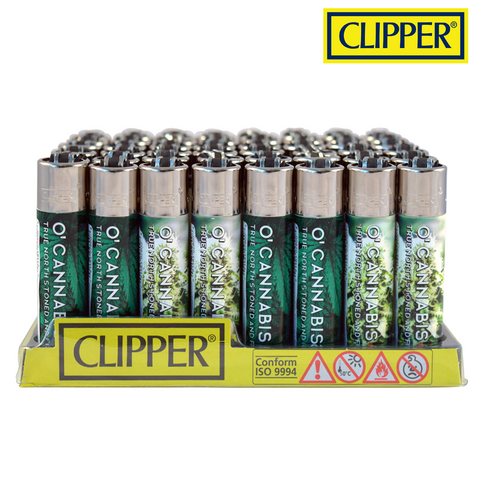 Clipper Lighter Regular Size O'Cannabis w/ Removable / Replaceable Flint / Poker 48/pack