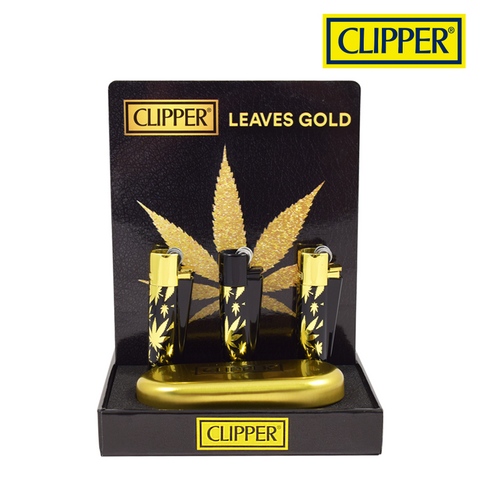 Clipper Lighter Metal Leaves Gold 12/pack