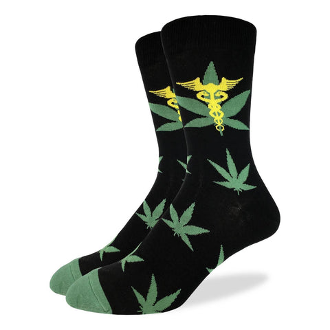 Good Luck Sock Marijuana Leafs Choice of Mens Adult Shoe-Size 5-9 or 7-12 Pair of Socks