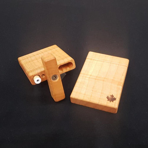 Natural Edge Wood Dugout Small Maple w/ Leaf, Bat & Poker