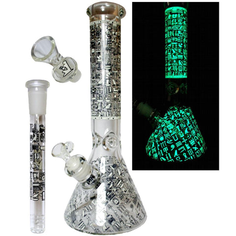 "NoName Beaker Glow Pharoah's Secret 14"" Tall 7mm Thick 14mm Bowl (14mm into 19mm Standard Downstem)"