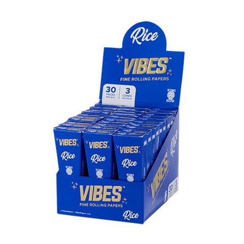 Vibes King Size Rice Rolling Papers Pre-Rolled Cones 3/pack 30/box
