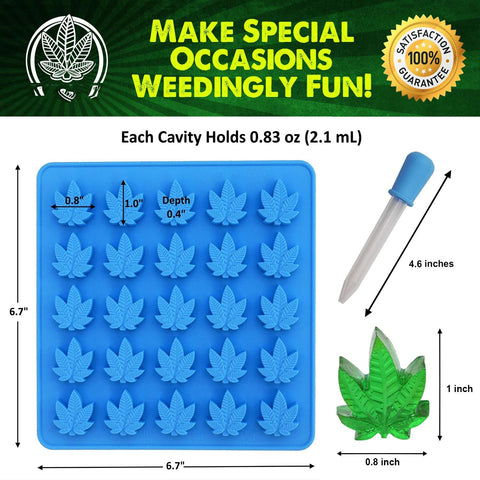 NoName Silicone Mold for Chocolate & Candy Marijuana Leaf 25 Molds Choice of Color