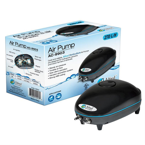 Alfred Horticulture Hydroponic Air Pump 2 Outlets 270L/hr 4W