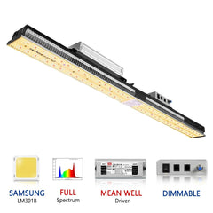 MARS Hydro LED Light SP3000 WaterProof Samsung & OSRAM LEDs Quantum Dimmable Daisy-Chainable 2x5' Coverage
