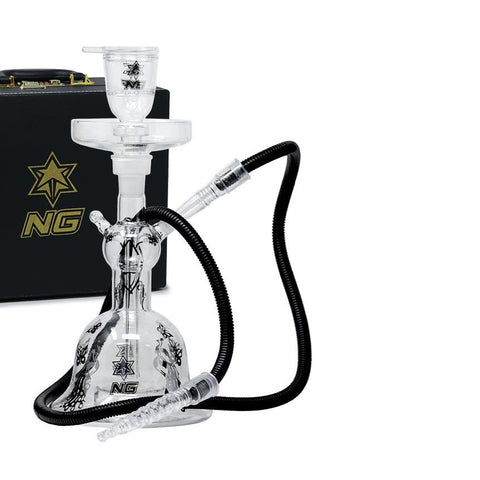 "Nice Glass Hookah Set TD-11 15"" Tall Clear With Gold or Silver Accents"