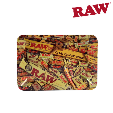 "RAW Metal Rolling Tray - Mini 18cm x 12.5cm x 2.2cm (7"" x 5"") - Mix Design"