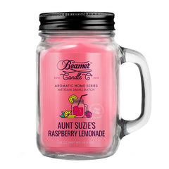 Beamer Candle Co. 12oz Glass Mason Jar Candle Aunt Suzie's Raspberry Lemonade