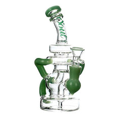 "Soul Glass Rig Stemless Recycler 7.5"" Tall 14mm Female Joint W/ Quartz Banger Included Choice of Colors S2063"