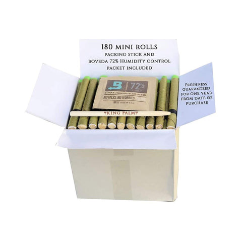 King Palm Wraps Mini Bulk Box 180/pack Bulk Pouch W/ Boveda Humidity Control Pack