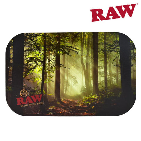 RAW Metal Rolling Tray Magnetic COVER / Lid - Small Smokey Trees / Forest 27.5cm x 17.5cm x 2cm Fits RAW SMALL Trays