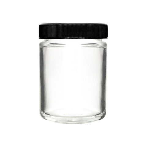 NoName Straight Sided Glass Jar w/ Child Resistant Black Lid 4oz Size