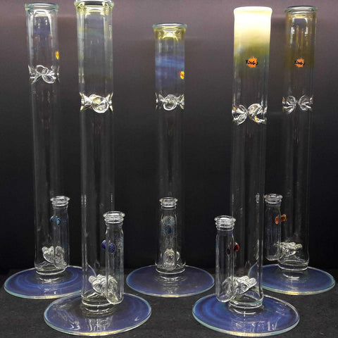 "Yougo Boro Stemless Dual Stem W/ Millie (Millefiori / Mille) 18"" Silver Fumed Straight Tube (No Ice Pinch) 19mm"