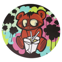 "NoName Bear W/ Chinese Takeout 8"" Diameter Round Silicone Rubber-Backed Dab Mat"