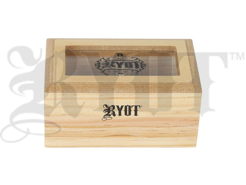 "RYOT Shaker / Sfiter / Storage Box 3x5"" Glass Top Natural Finish"
