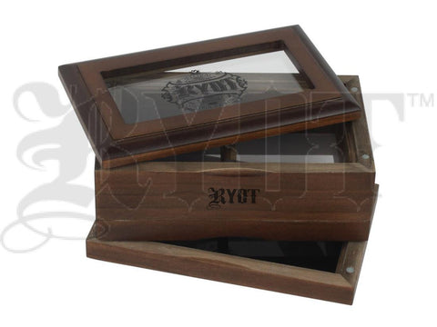 "RYOT Shaker / Sifter / Storage Box 3x5"" Glass Top Walnut"
