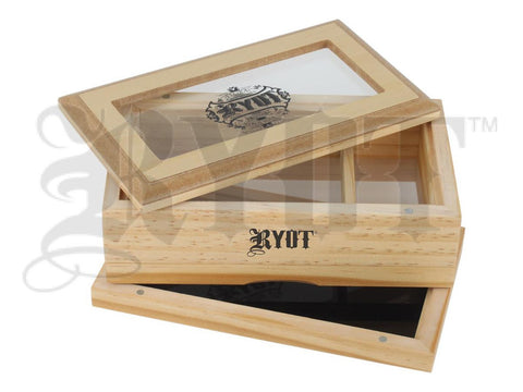 "RYOT Shaker / Sifter / Storage Box 4x7"" Glass Top Natural Finish"