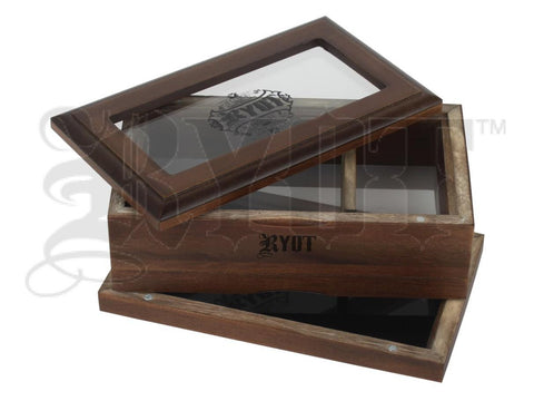 "RYOT Shaker / Sifter / Storage Box 4x7"" Glass Top Walnut"