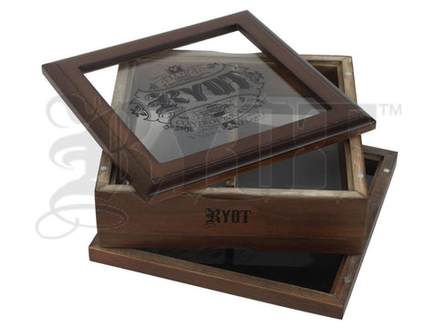 "RYOT Shaker  Sifter / Storage Box 7x7"" Glass Top Walnut"