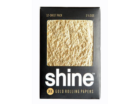 Shine 24K Gold 1-1/4 Size Rolling Paper - 12-Pack