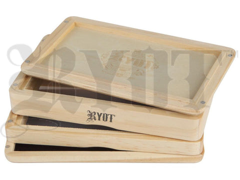 "RYOT Shaker / Sifter / Storage Box 4x7"" Dual Screen Solid Top Natural Finish"