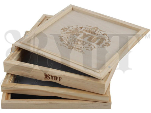 "RYOT Shaker / Sifter / Storage Box 7x7"" Dual Screen Solid Top Natural Finish"