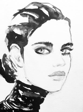 Black and white illustration - girl 4