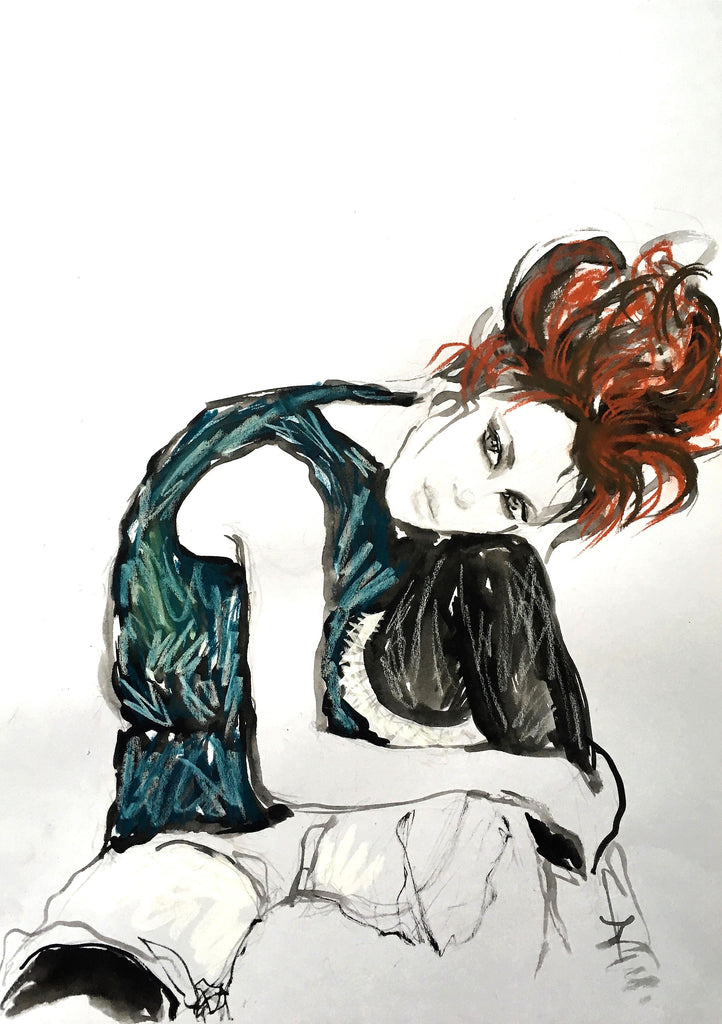 Seated Girl.  - my version of Egon Schiele I
