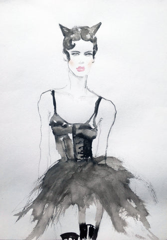 Black and White  Illustration - Moschino girl