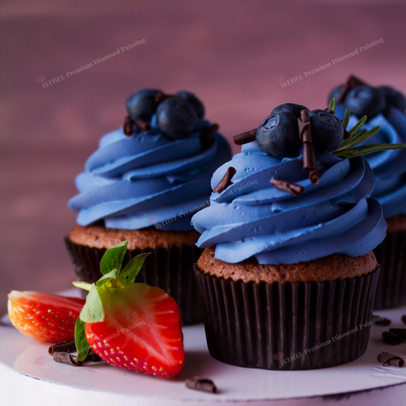 Appetizing Blueberry Cupcakes - Diamond Painting Kit