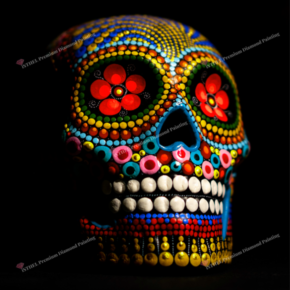Colorful Skull  - Diamond Painting Kit with 2 AB