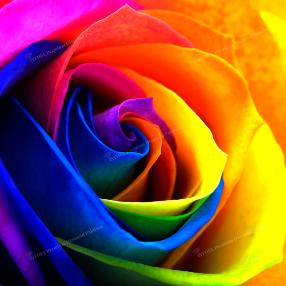 Rainbow Rose C - Diamond Painting Kit 2 AB Drills