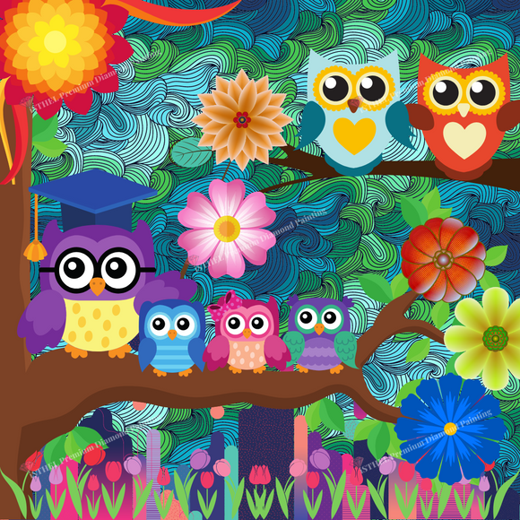Ollie Owl Family - Diamond Painting Kit with 2 AB