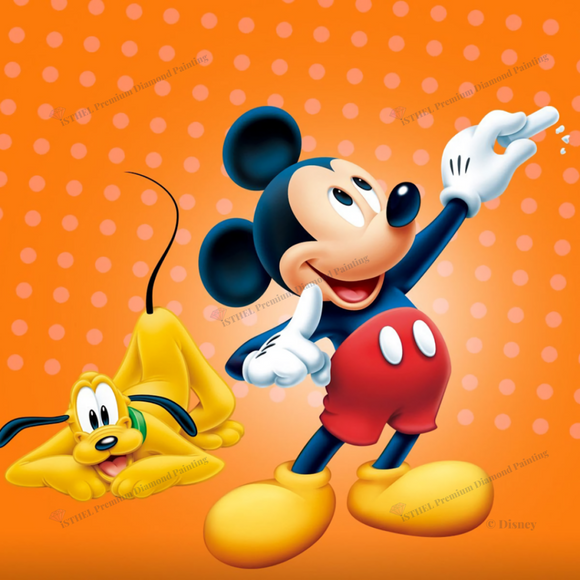 Mickey and Pluto - Diamond Painting Kit with 1 AB