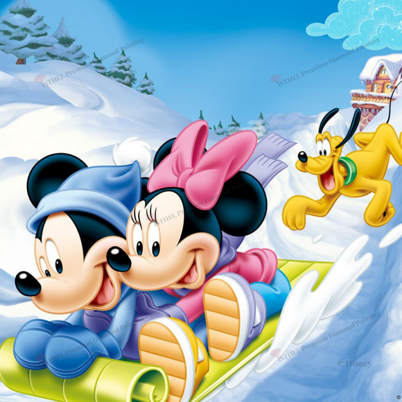 Mickey and Minnie Winter- Diamond Painting Kit with 1 AB
