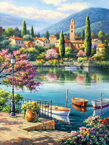 Village Lake Afternoon - Diamond Painting Kit