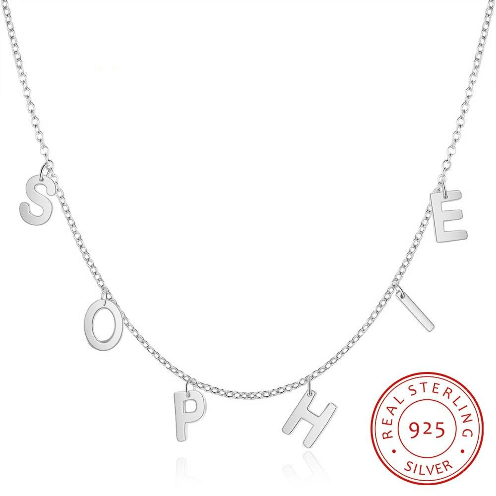 Personalized Name Capital Letter Initial 925 Sterling Silver Necklace for Women