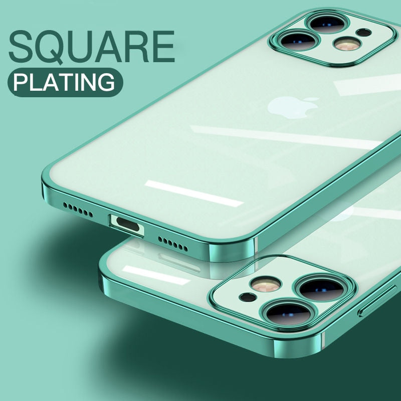 Classic Square Plating Frame Protection Soft Phone Case For iPhone 13 11 12 Pro Max XS Max X XR 7 8 Plus